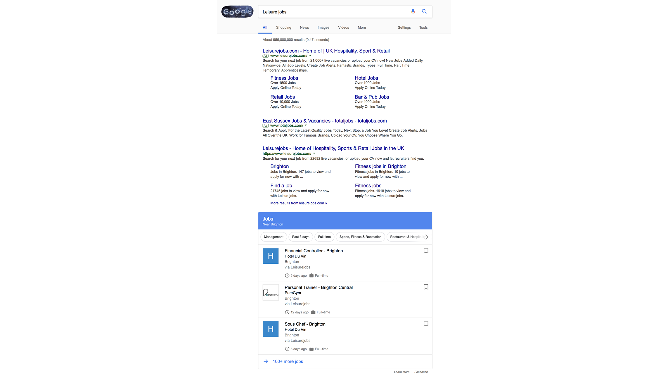 Google for Jobs Search Experience Screenshot